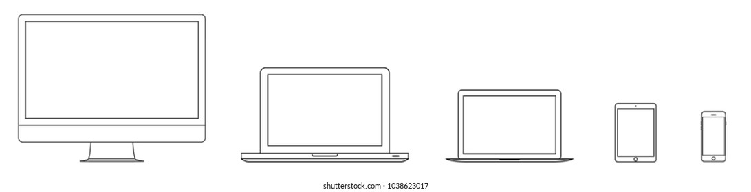 Mockup gadget and device outline icons set on the white background. Vector illustration. Laptop, tablet, smartphone and computer Set of outline