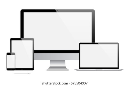 mockup gadget and device: smartphones, tablets, laptops and computer monitors black color with blank screen isolated on white background. stock vector illustration eps10