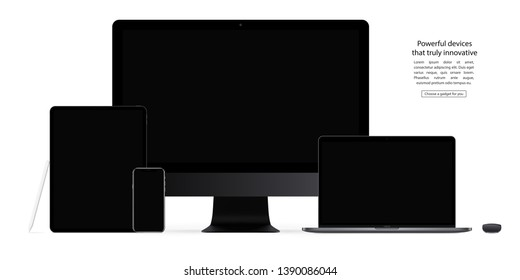 mockup gadgets and devices: stylus, mouse, smartphone, tablet, laptop and computer monitor with black screen isolated on white background. stock vector illustration eps10