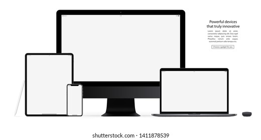 mockup gadgets and devices: stylus, mouse, smartphone, tablet, laptop and computer monitor with blank screen isolated on white background. stock vector illustration eps10