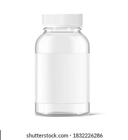 Mockup of glass bottle isolated on white background. Can be used for medical, cosmetic. Vector illustration. EPS10.