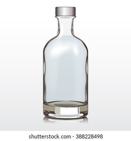 Mockup Glass Bottle Silver Cap, Changeable color of liquid and bottle, vector