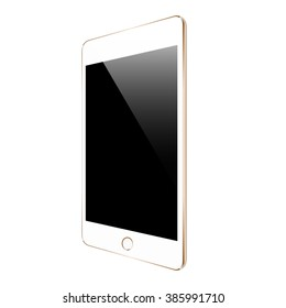 mockup gold tablet similar to ipades isolated on white vector design