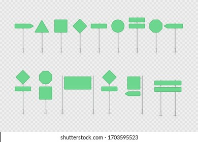 Mockup green traffic sign isolated on transparent background. Road signpost. Blank board with place for text. Direction. Vector illustration.