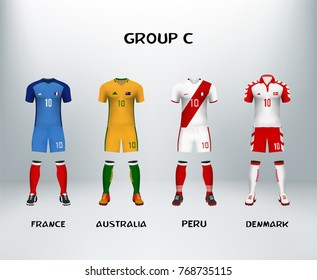 mockup of group C football jersey. Concept for soccer uniform of team that qualified to final round of football tournament in Russia. Vector illustrative