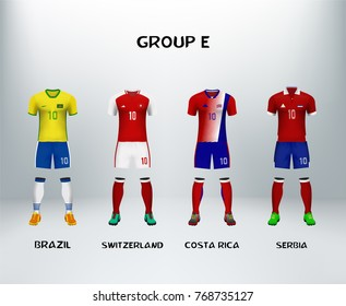 mockup of group E football jersey. Concept for soccer uniform of team that qualified to final round of football tournament in Russia. Vector illustrative
