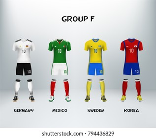 mockup of group F football jersey. Concept for soccer uniform of team that qualified to final round of football tournament in Russia. Vector illustrative