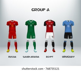 mockup of group A football jersey. Concept for soccer uniform of team that qualified to final round of football tournament in Russia. Vector illustrative
