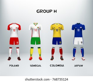 mockup of group H football jersey. Concept for soccer uniform of team that qualified to final round of football tournament in Russia. Vector illustrative
