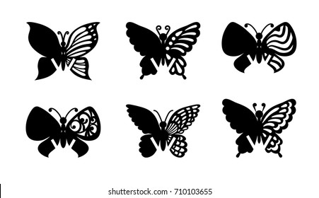 Mockup guest wedding place cards. Laser cut vector set. Collection of black butterflies isolated on transparent background. Silhouette flying insects. Wood carving template. Wine glass decoration tag.