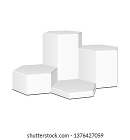 Mockup Hexagonal, Hexagon Stage Podium Isolated on White Background. 3d Pedestal. Vector illustration. Mock Up Ready For Your Design. Product Advertising. Vector EPS10