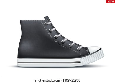 Mockup of High Top Canvas Sneaker. Black color. Example gumshoes. Realistic Editable Vector Illustration isolated on white background.