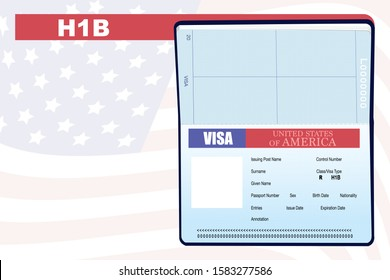 Mockup illustration of passport, American VISA page for the Class R, Visa Type/H1B.  Copy space