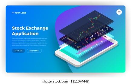 Mockup landing page website design concept stock exchange mobile application. Isometric vector illustrations.