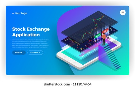 Mockup landing page website design concept stock exchange mobile application. Isometric vector illustrations.