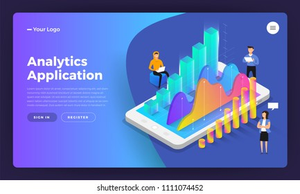 Mockup landing page website isometric design concept mobile application analytics tools. Vector illustrations.