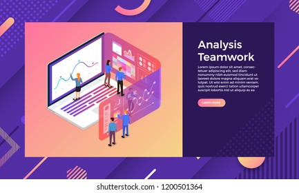 Mockup landing page website isometric design concept mobile application analytics tools via teamwork business. Vector illustrations.