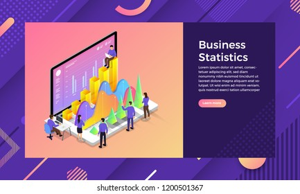 Mockup landing page website isometric design concept Business Statistics marketing success. Vector illustrations.