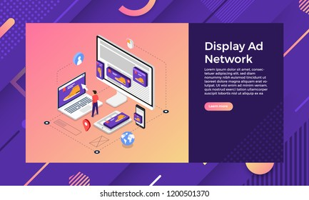 Mockup landing page website isometric design concept display ad banner networks. Vector illustrations.