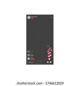 The mockup is live streaming. Streaming video with emoji. The template for the the social network. stream interface. Vector illustration.