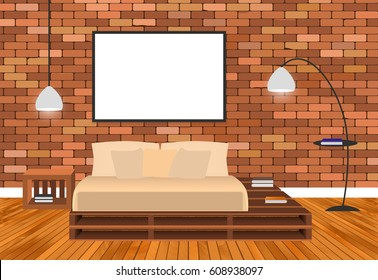 Mockup living room interior in hipster style with empty frame, bed, lamps and brick wall. Vector illustration