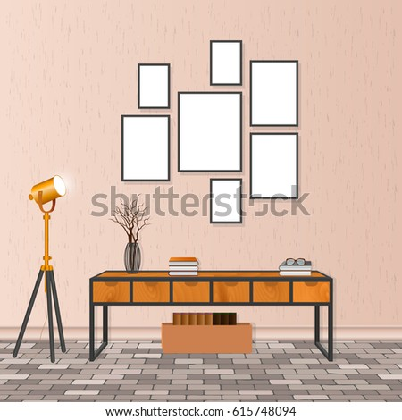 Mockup Living Room Interior Hipster Style Stock Vector Royalty Free Extraordinary Basement Wall Design Example Concept