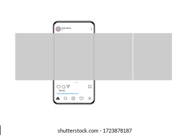 The mockup of the mobile application on the screen of a realistic smartphone. Smartphone with carousel interface post on social network. Vector illustration.