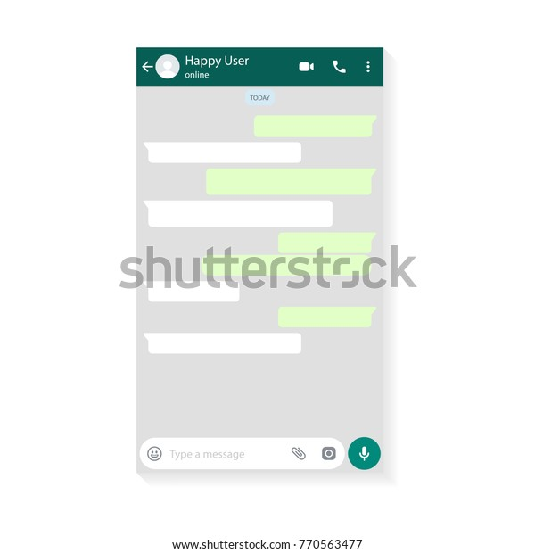 Mockup of mobile messenger, inspired by WhatsApp and other similar apps. Modern design. Vector illustration. EPS10.