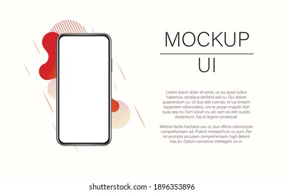 Mockup modern device. Vector eps10 realistic smartphone template. Phone frame with empty display isolated on white background. Stock illustration with copy space