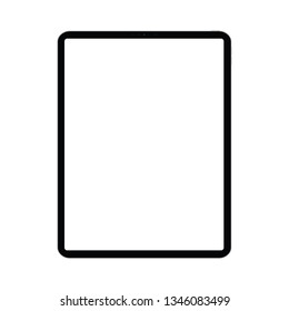 Mockup of a new version of 12.9-inch premium black pro tablet in trendy thin frame design. Isolated on a transparent background. Vector image.