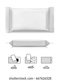 Mockup package for wet wipes with pictograms. Vector illustration on white background. Ready for your design/