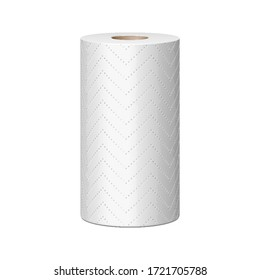 Mockup Paper Kitchen Towel Tissue Roll Absorbent. 3D Illustration Isolated On White Background. Mock Up Template.