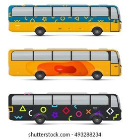 mockup passenger bus design templates transport stock vector