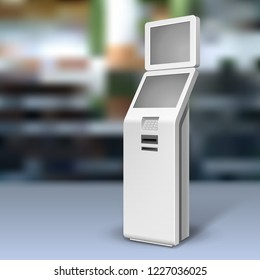 Mockup Payment Information Terminal. ATM, POS, POI Advertising Outdoor, Indoor Stand. 3D Mock Up, Template. Illustration On Realistic Background Shop, Mall. Vector EPS10