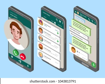 Mockup of phone with mobile messenger on screen. Vector isometric illustration