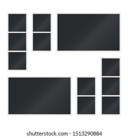 Mockup  for photography. Set of 12 empty photo frames. Vector. Isolated. Polaroid. Template.