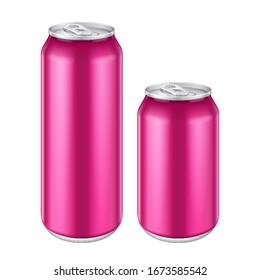 Mockup Pink Metal Aluminum Beverage Drink Can 500ml, 0,5L. Beer, Soda, Lemonade, Juice, Energy. Mock Up Template. Isolated On White Background.