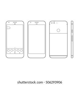 Mockup Pixel Phone Mobile Gadget Device Outline Vector
