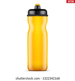 Mock-up Plastic Sport Nutrition Drink Bottle. Yellow color. For Whey Protein and Gainer Supplements. Fitness and GYM sports. Vector Illustration isolated on white background