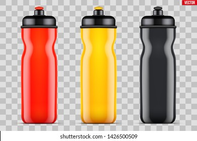 Mock-up Plastic Sport Nutrition Drink Bottle. Multicolor plastic. For Whey Protein and Gainer Supplements. Fitness and GYM sports. Vector Illustration isolated on background