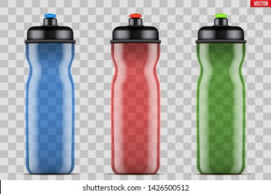 Mock-up Plastic Sport Nutrition Drink Bottle. Transparent plastic. For Whey Protein and Gainer Supplements. Fitness and GYM sports. Vector Illustration isolated on background