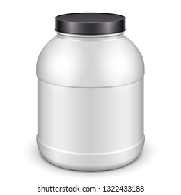Mockup Plastic White Jar Can Cap Bottle Sport Nutrition, Protein, Gainer, Black Lid. Illustration Isolated On White Background. Mock Up, Template Ready For Your Design. Vector EPS10
