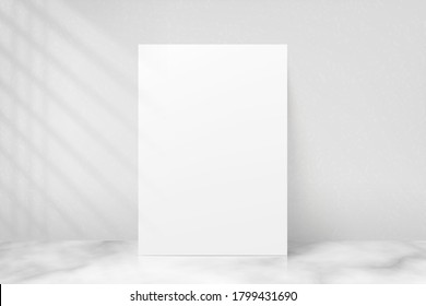 Mockup poster with shadow blinds from window. Mock up sheet paper. White empty blank. Vertical mockup. Light from window. Realistic reflected shadow on wall. Overlay effect. Shade jalousie. Vector