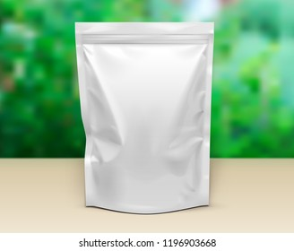 Mockup Pouch Sachet Stand Up Bag Food  Flexible Snack Pack. Blank Mock Up Template On Table. Green Summer Garden Background. Ready For Your Design. Product Packaging. Vector EPS10