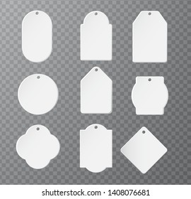Mockup Product paper label for logo product Separate parts on a transparent background