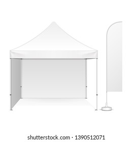 Mockup Promotional Advertising Outdoor Event Trade Show Pop-Up Tent Mobile MarqueeWith Feather Blade Straight Flag. Front View. Illustration Isolated On White Background. Mock Up Template.