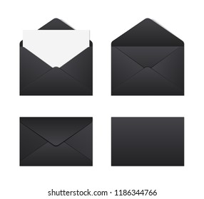 Mockup realistic black envelopes. vector illustration on white background.
