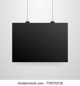 Mock-Up Realistic Black Poster Hanging. Empty White Vector Poster Template.