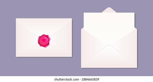 Mockup of realistic envelopes, opened with blank letter and sealed with pink wax stamp. Romantic love letter design for Valentine day. Vector illustration of love mail message