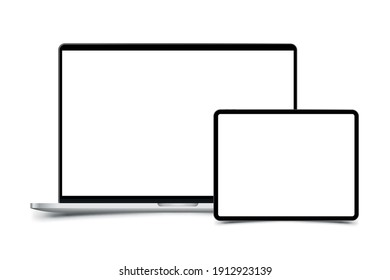 Mock-up of realistic Laptop with Tablet. Front side with screen isolated on white background with shadow. Flat vector illustration EPS 10.